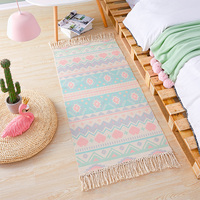 Bedside Bedroom Carpet Cotton Hand Woven Mat Bathroom Living Room Morocco Carpets Geometric Indian Rug Bohemian Runner Rug