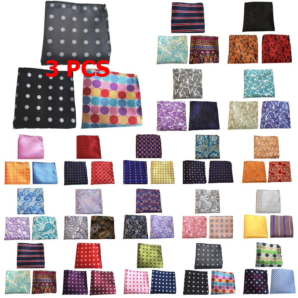 3 PCS Men Classic Stripe Flower Paisley Pocket Square Handkerchief Wedding Hanky