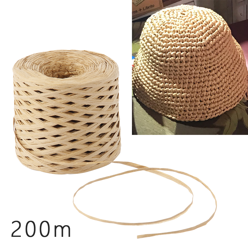 Fita de papel raffia 200 metros artesanato natural papel de embrulho corda corda presente embalagem fita para festa de páscoa decoração de casamento