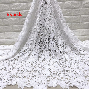 Image 3 - wholesale 5yards latest african milk silk  lace  water soluble chemical lace fabric,high quality african cord lace    JYMAY201