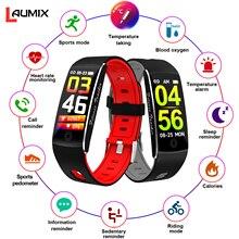Reloj inteligente con medición de temperatura de Monitor de oxígeno en sangre oxímetro de pulso de la hipertermia advertencia Fitness Trackers