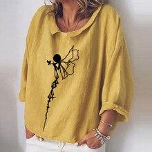 Elegancki kwiatowy Print damskie koszule damskie z długim rękawem bawełniane lniane topy damskie Casual Plus rozmiar