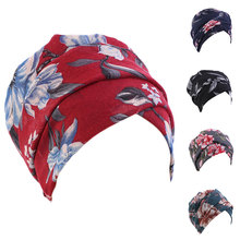2021 Vintage Muslim Hijab Scarf Bohe India African Head Wraps Cotton Women Turban Caps Vintage Turbante Mujer Headscarf Bonnet