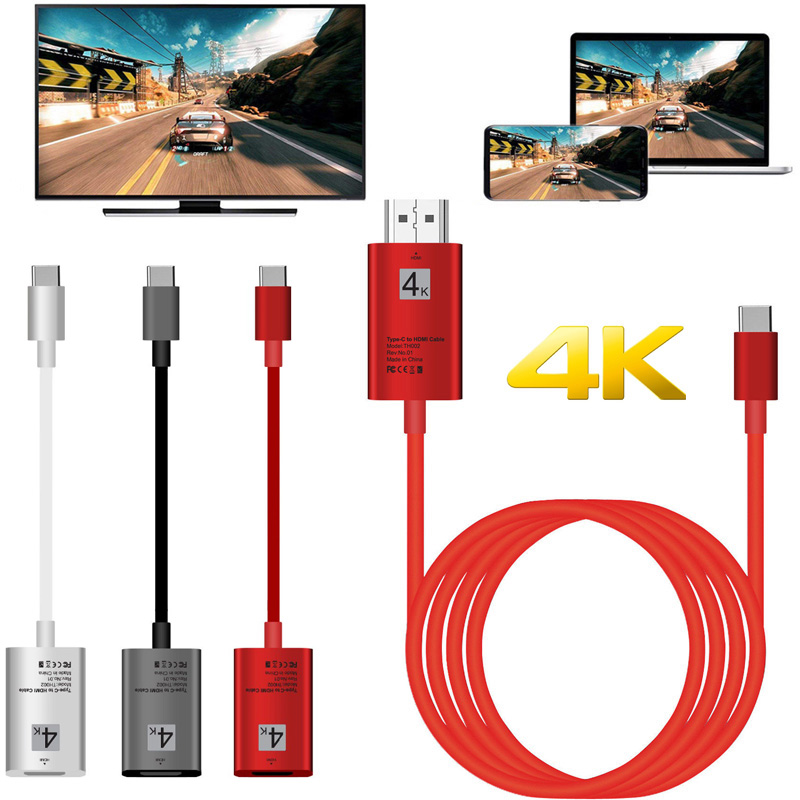 4K TypeC HDMI Adapter Type C Phone Connect TV Cable HDTV Video Converter For Macbook Samsung S8 S9 S10 Huawei P30 LG G5 Android