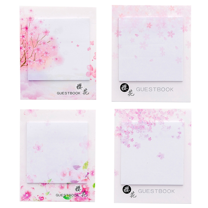 4 Pcs Cute Kawaii Cherry Blossoms Memo Pad Sticky Notes Stationery Sticker Posted It Planner Stickers Notepads Office School S