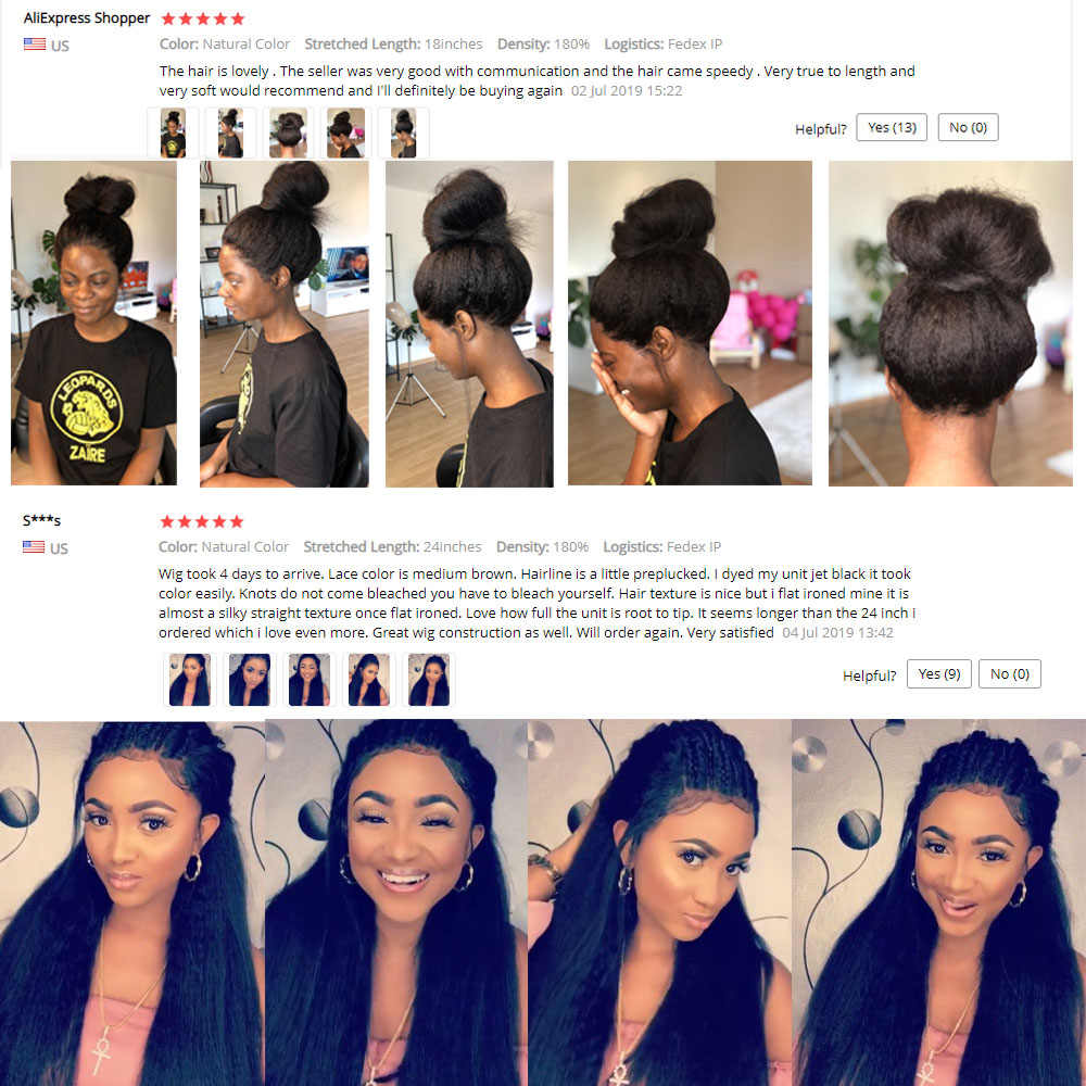 180% Kinky Straight 360 Lace Frontal Wig Peruvian Lace Frontal Human Hair Yaki Wigs Pre Plucked With Baby Hair Remy Lace Wig