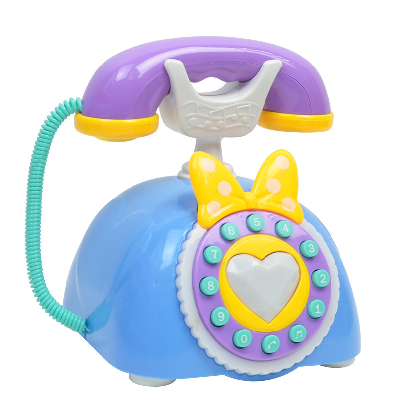 Baby Phone Set Cartoon Retro CHILDREN'S Toy With Light And Music Model Plastic Toy With Vintage Fixed Phone 2-3