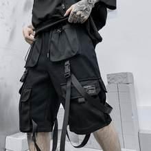 Men summer ribbons hip hop cargo shorts casual streetwear shorts mens harajuku punk short pants bermuda homme