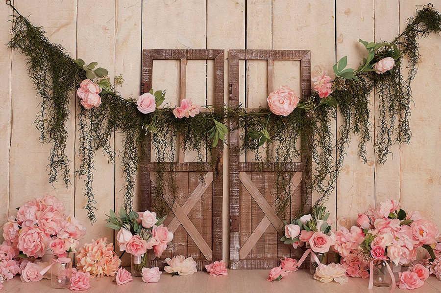 Arrière-plans rose fleur Floral ancienne porte en bois mur fête d'anniversaire bébé nouveau-né arrière-plans photographiques Photocall Photo Studio