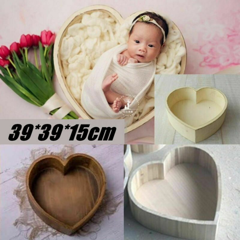 Wooden Love Heart Shaped Cot For Newborn Photography Props Baby Photo Shoot Accessories Photo Studio Prop Newborn Bed