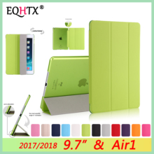 New Case For iPad 9.7 inch 2017 2018 5th & 6th generation Cover,Transparent Smart sleep wake up PU Leather Cover For iPad Air 1