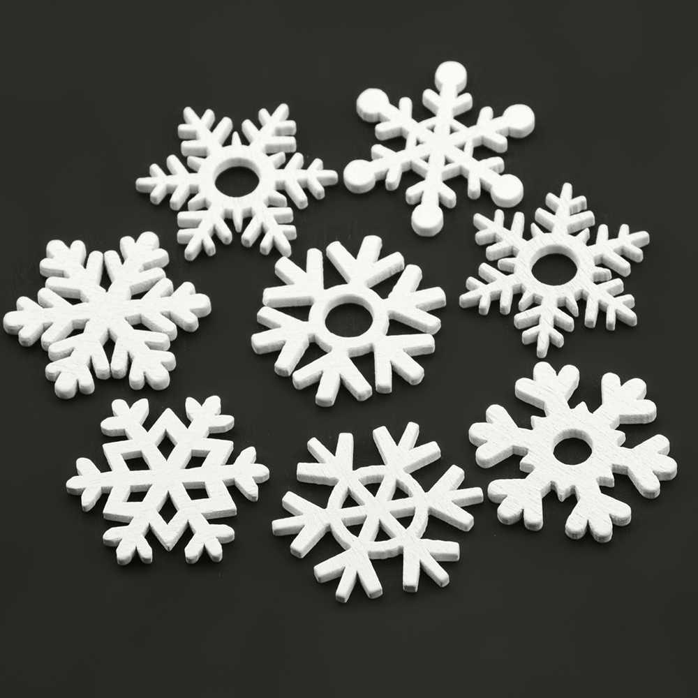 50pcs 35mm White Wood Christmas Snowflakes Ornaments Tree Xmas Pendants… L9R7