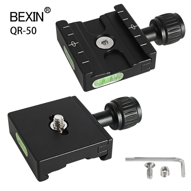 QR 50 Aluminum Alloy Camera Quick Release Clamp Mounting Adapter Clip With PU50 Plate For Tripod Ball Head Arca Swiss Camera
