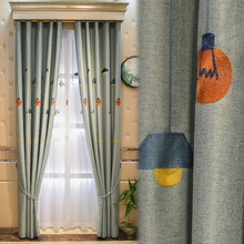 British industrial style Wanjia lamp towel embroidered cotton linen curtain living room floor processing customization
