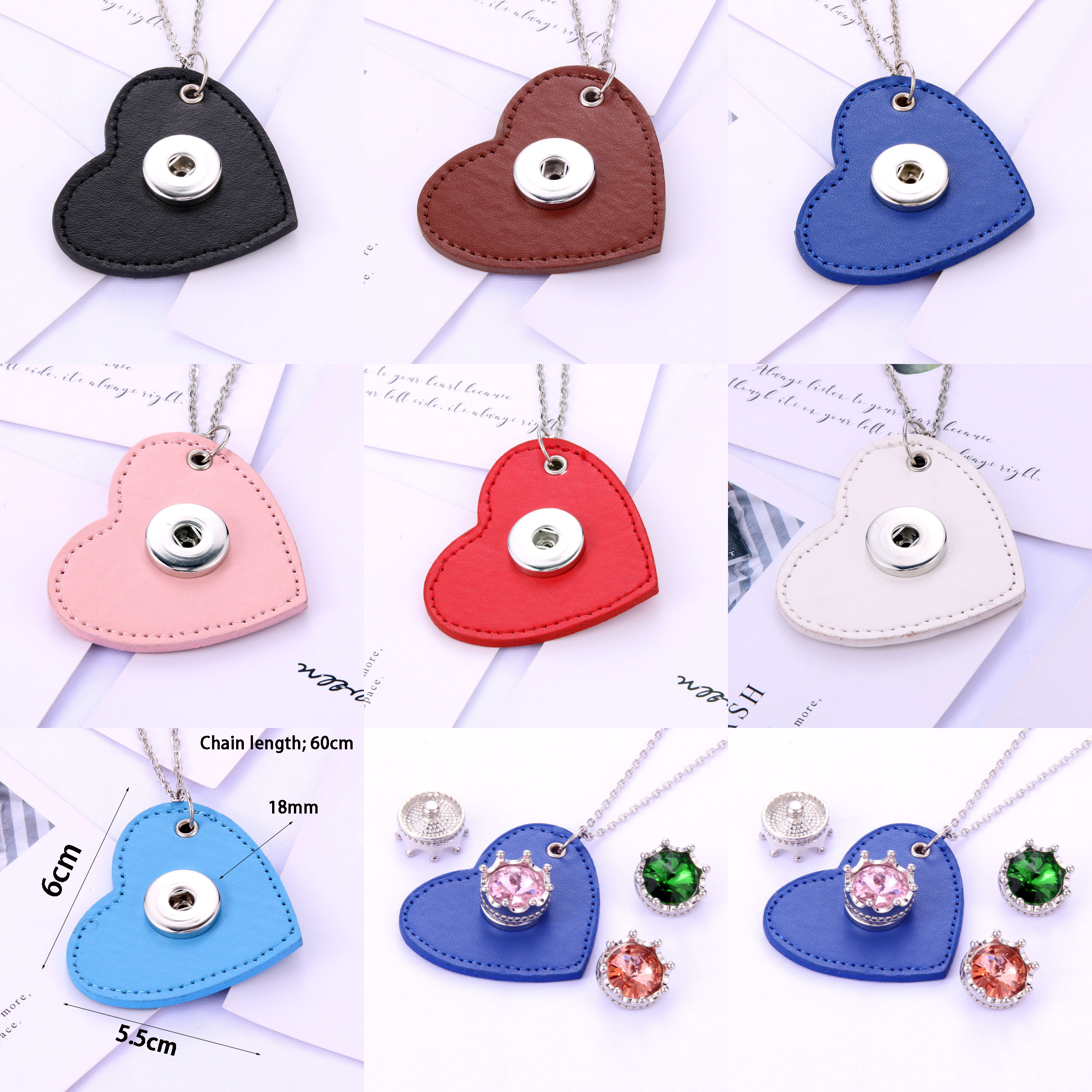New Snap Jewelry 7-colors heart shape Leather Metal key chain Bag Snaps Pendant women Fit 20MM 18mm Snap Buttons DIY Jewelry