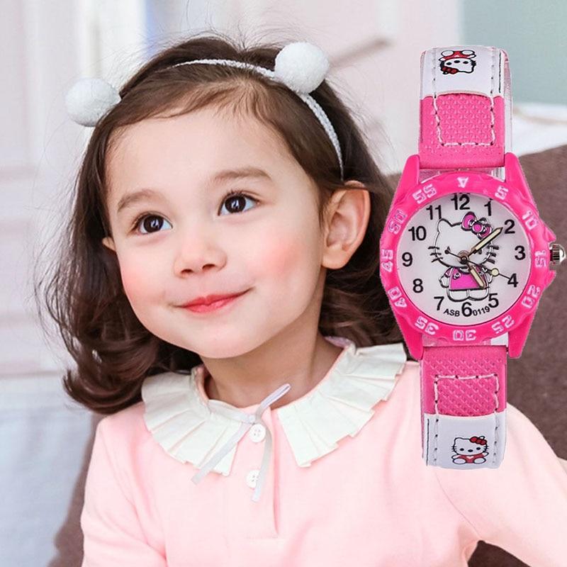 Kids Watches Girls Hello Kitty Cute Children Watch Waterproof Watch Kids Girl Analog Quartz Clock Montre Enfant Fille Princesse