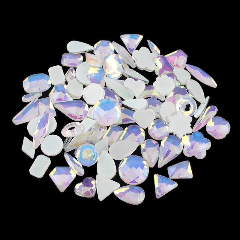 Mocha White Mix shape Flat back Стразы 100 шт. Кристальные стеклянные камни для детской отделки