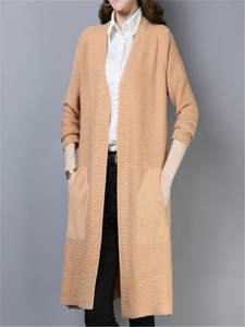 Knitted Cardigan Plus-Size Long Sweater Pull Femme Office Fashion Women H143 Coat Nouveaute