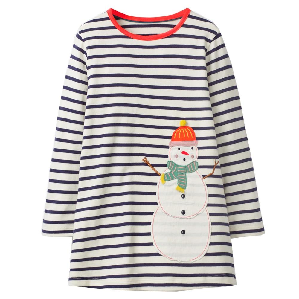 Baby Girls Dress Long Sleeve Animal Appliques Princess Dress Unicorn Tunic Jersey Kids Clothes Christmas Children Dresses Girl