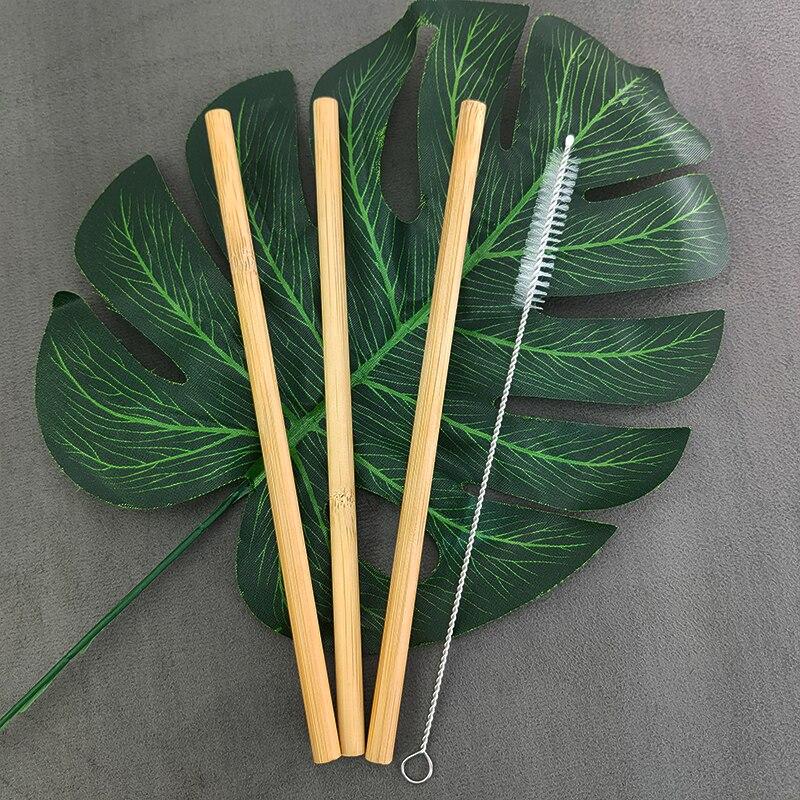 3 шт./компл. многоразовые соломинки из натурального бамбука, соломинки для питья с чехлом + чистящая щетка, экологически чистые бамбуковые со...