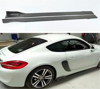 High Quality Carbon Fiber Side Body Skirts Kit Lip Splitters Cover For Porsche 981 Cayman Boxster 2013 2014 2015 2016 Year image