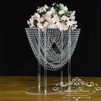 25,6 дюймов высокий свадебный Кристалл Центральный прозрачные цветочные люстры акриловый цветок стенд стол центральный Свадебный декор