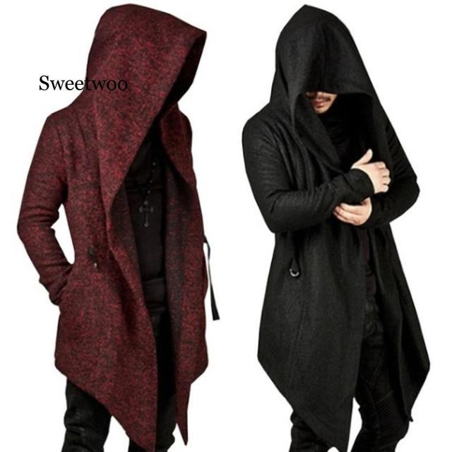 Купить мужское длинное пальто с капюшоном и асимметричным подолом повседневный картинки цена
