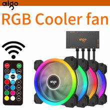 Aigo DR12 PC Case Fan 120 Mm Bisu Radiator Cooler Heat Sink IR Remote Control Penyesuaian Bar Lampu LED RGB bisu Permainan Case Fan(China)