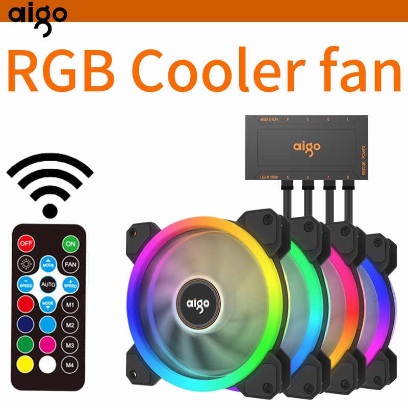 Aigo DR12 PC ventilateur de boîtier 120mm muet radiateur refroidisseur dissipateur de chaleur IR télécommande réglage barre de lumière LED RGB muet jeu boîtier ventilateur