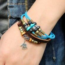 Creative palm pendant Leather Bracelet & braided beaded wristband for men & adjustable Jewelleryfor women punk& student Bangles цена