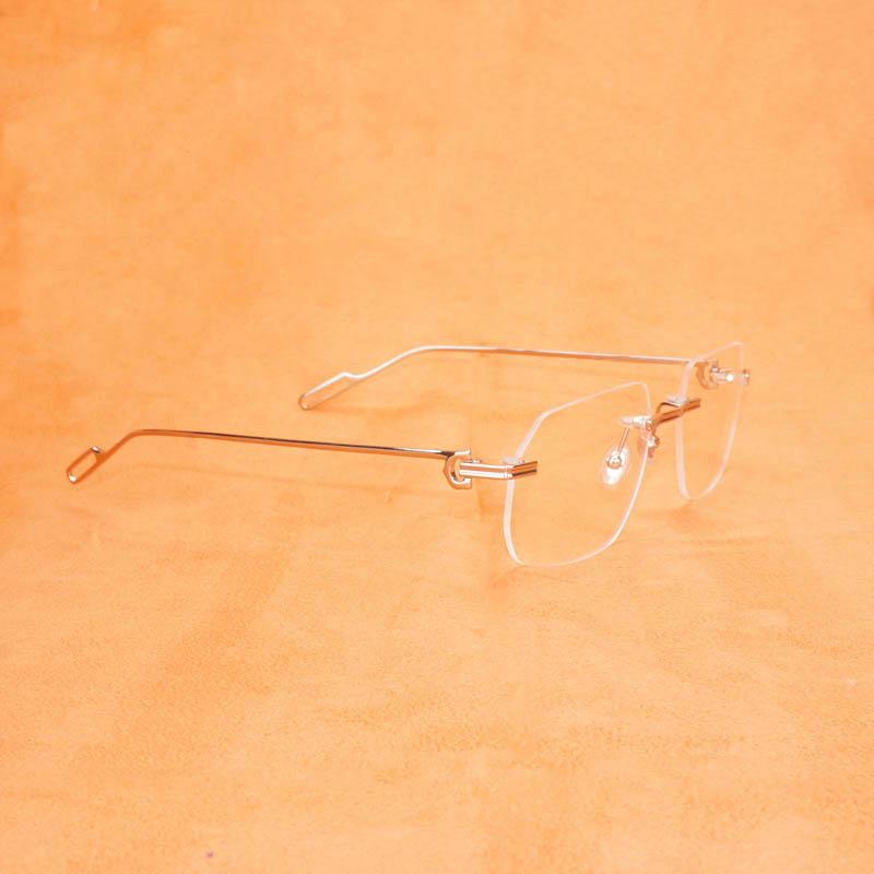 Vintage Computer Glasses Men Women Clear Glasses Rimless Eyeglasses For Reading Gafas for Male Frame New Design Lenses Shap