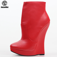 jialuowei Fetish Stallion Horse Hoof Sole  Ankle Boots With Zip BDSM Platform Runway Rock Star Night Club Goth Punk Hi Heel Boot