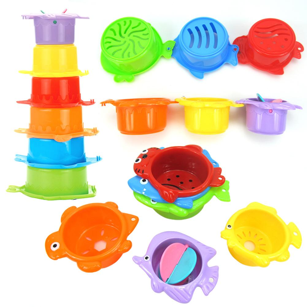 11Pcs Colorful Animal Bathroom Shower Stacking Cup Kids Baby Bath Water Play Toy