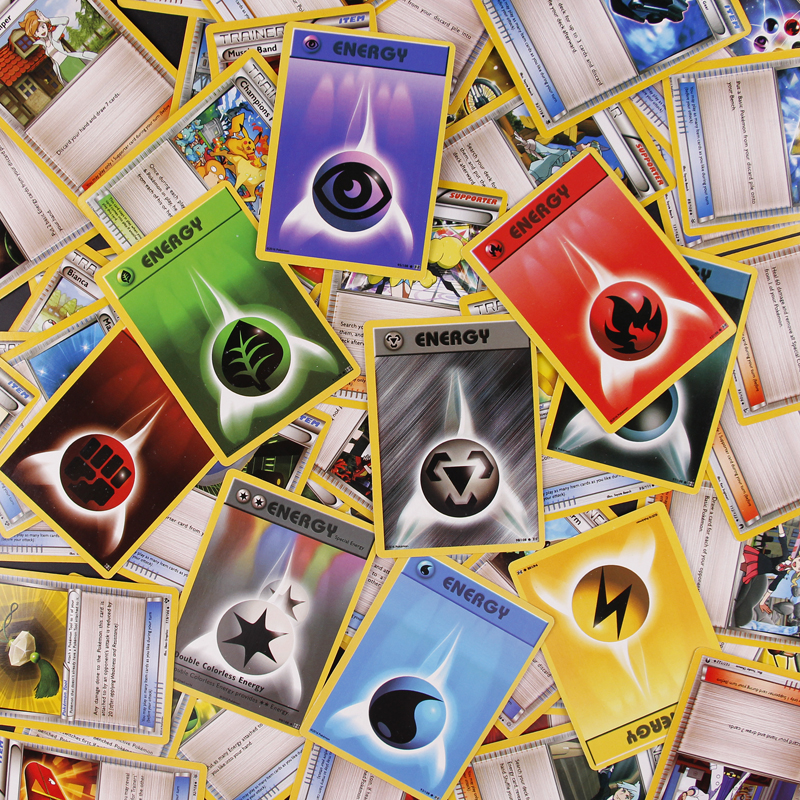 100PCS Pokemon Cards Flash Card Full Prop/Energy/Character Cards Game Collection Cards Gifts For Children