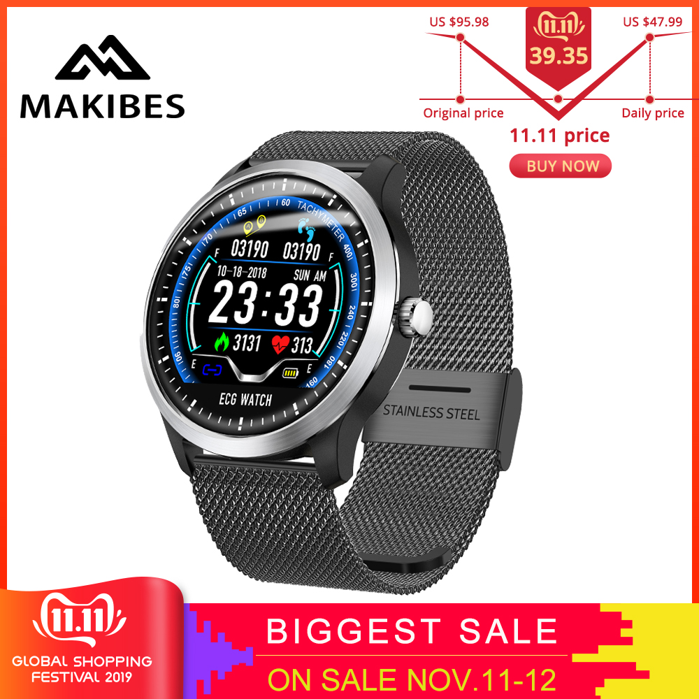 Makibes BR4 ECG PPG smart watch Men with electrocardiogram heart rate blood pressure smart Band Fitness Tracker Double Eleven-in Smart Wristbands from Consumer Electronics