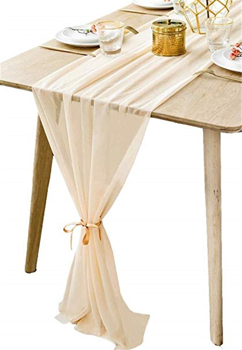 Romantic Sheer Table Runner Chiffon Fabric Overlay Wedding Beautiful Wedding Dusty Pink Chiffon Table Runner 30x305cm