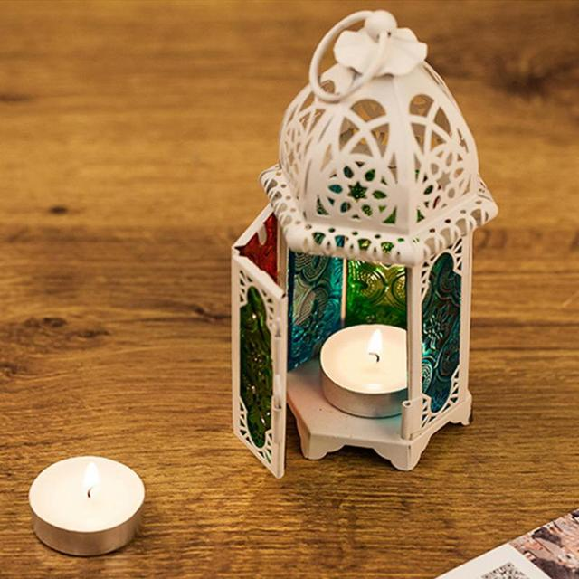 Vintage Moroccan Windproof Candle Holders Hanging Candle Lantern Iron Glass Votive Candlestick Wedding Decor Party Home 7*17cm 4