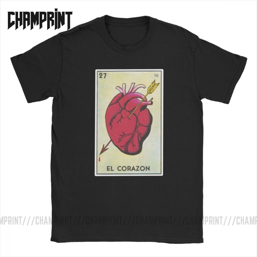 Men's T-Shirts El Corazon Loteria Mexican Bingo Heart Tarot Card T Shirt Cotton Tees Short Sleeve Arrow Heart Tops Gift