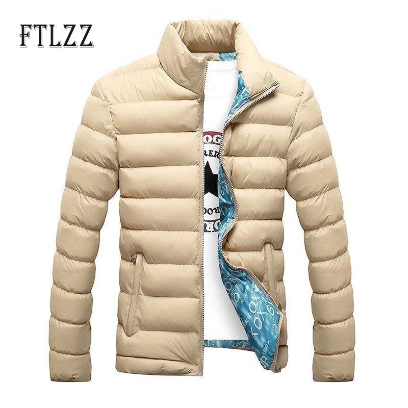 2019 Fashion Men Cotton Padded Jacket New Autumn Winter Slim Plus Size Outerwear Mujer Man Zipper Stand Collar Parka Coats