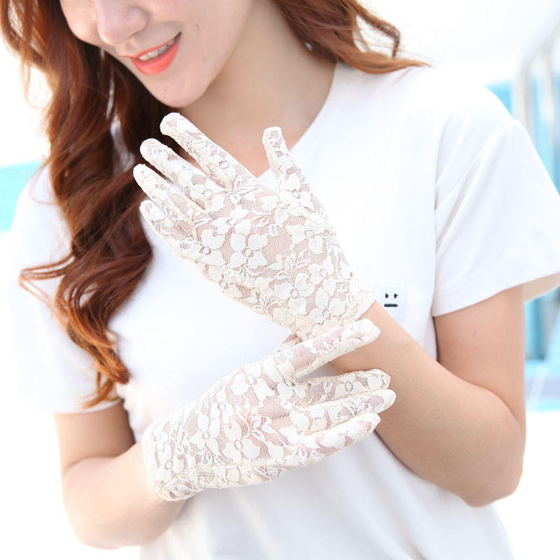 Howfits Women Summer Driving Sunscreen Gloves UV Protection Sun Against Thin Lace Sexy Lady Transparent Decent Nonslip Mittens