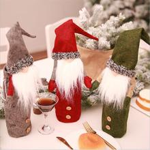 VIERUODIS Christmas Decoration Wine Bottle Set No Face Doll Champagne Embroidery Doll Wine