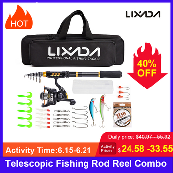 Lixada Telescopic Fishing Rod Reel  Combo Full Kit Fishing Rod Gear +Spinning Reel+ Line Lures Hooks with Bag for vara de pesca goture fly fishing reel rod combo 5 6 7 8 acl fly reel and bluewater fly rod with flies lures fishing kit pesca