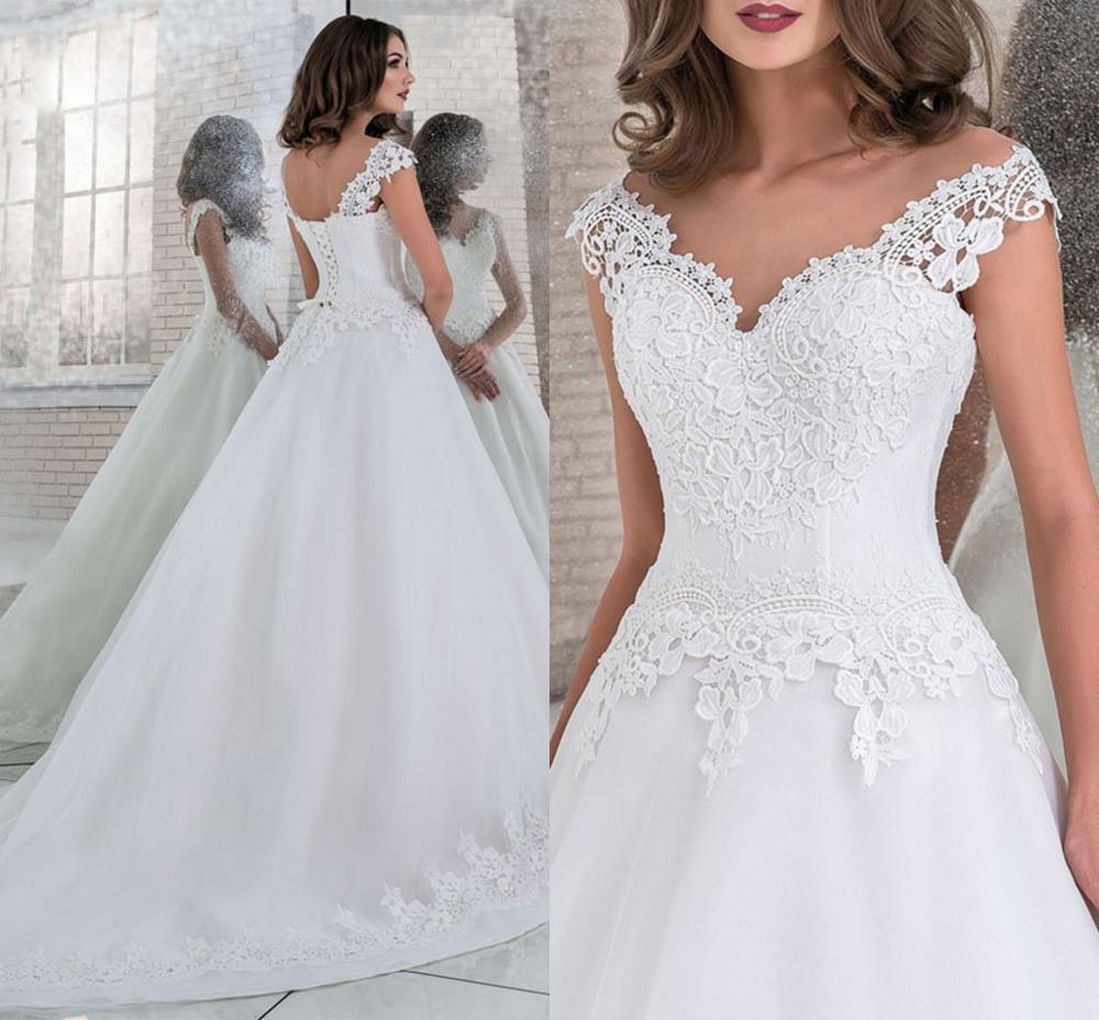 Vestido De Noiva A Line Tulle Wedding Dress V Neck Lace Appliques Bridal Bride Gowns Corset Back 2019 Robe De Mariage