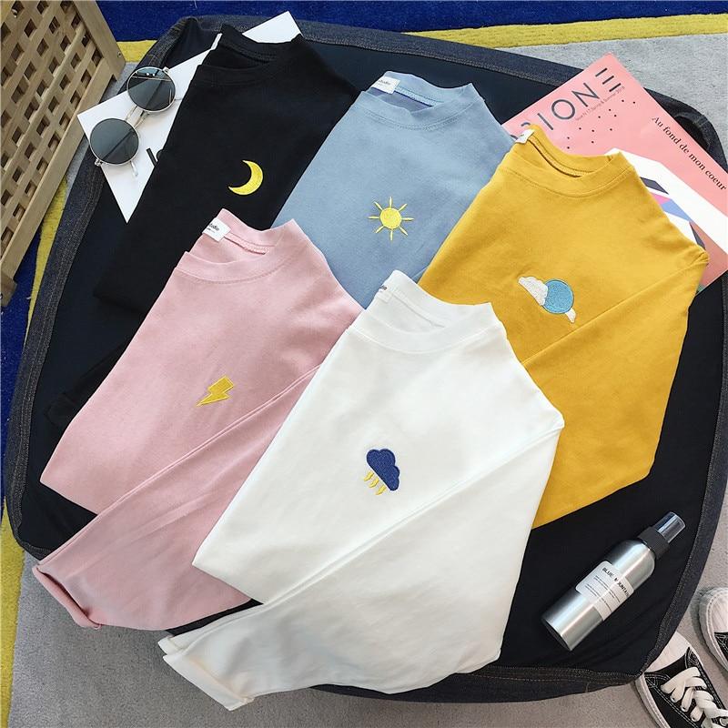 Korean Cartoon Embroidery Loose Basic T Shirt Autumn Long Sleeve Simple T-shirts For Women Harajuku Kawaii Funny Student Tshirt