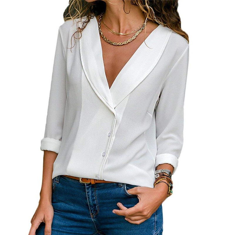 2018 White Shirt Women Long Sleeve Blouse Sexy Deep V Neck Top Tee Autumn Slim Pullover Tops Women Solid Office Blouse Shirt