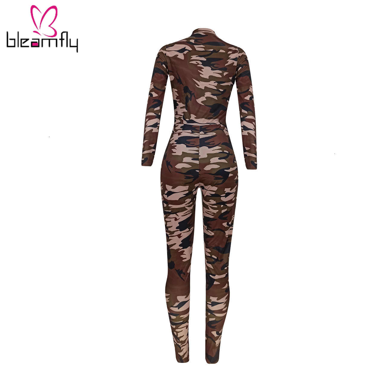 Camouflage Printed Striped Spliced Sexy Jumpsuit Long Sleeve Women V Neck Zipper Skinny Overalls Party Club Bodycon Jumpsuits