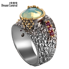DreamCarnival 1989 New Gothic rings for women  Black Gold Color with Green Zirconia Wholesale WA11741
