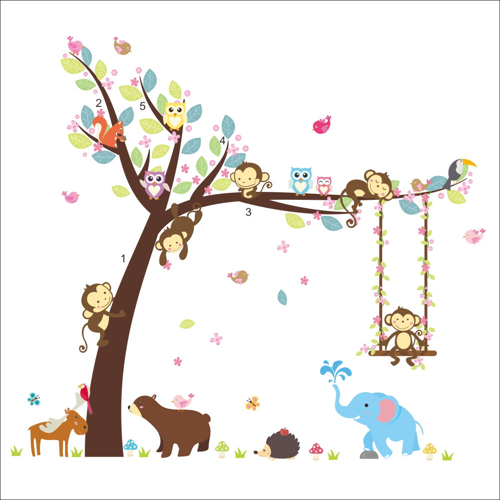 Forest Animals Bear Owl Cheeky Monkey Eldphant Tree Wall Sticker For Kids Room Carton home Decor Home Decal Mural in Wall Stickers from Home Garden