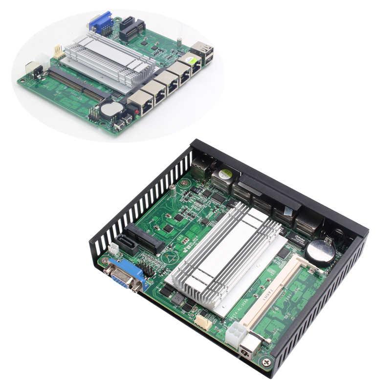 Hly Clearance Mini PC Celeron J1900 4 * Gigabit Ethernet LAN Pfsense Ubuntu Firewall Router Tanpa Kipas Micro PC Komputer Industri