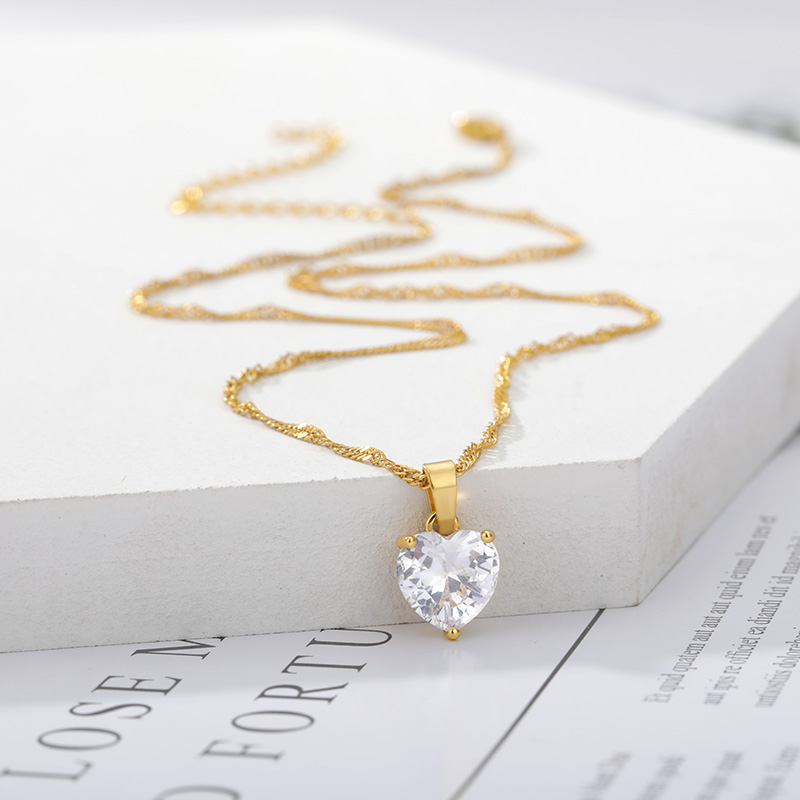Heart Necklaces For Women Stainless Steel Gold Chain Zircon